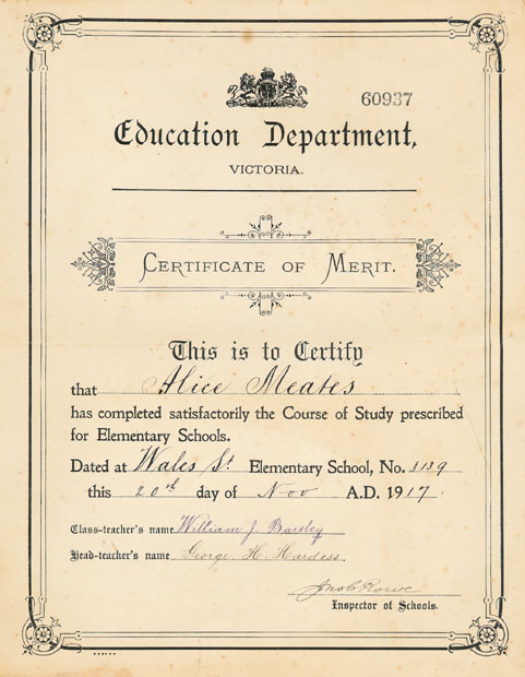 Certificate of Merit - 1917
